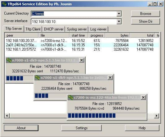 Free TFTP Server by TFTPD32