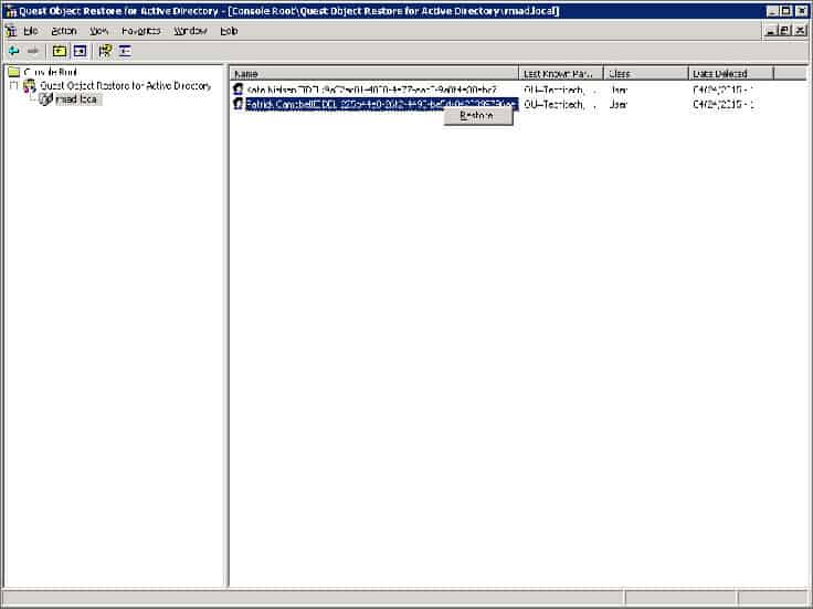 dell object restore for active directory