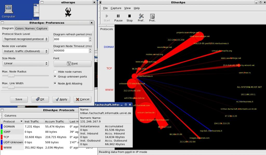 Etherape network analyzer