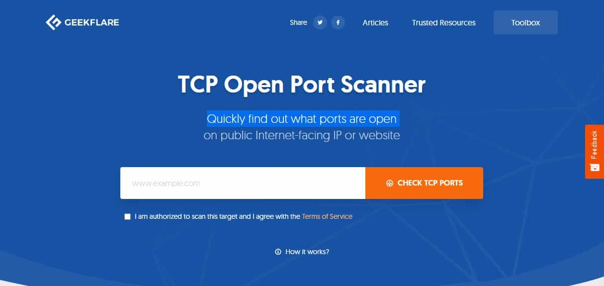 Geekflare TCP Open Port Scanner