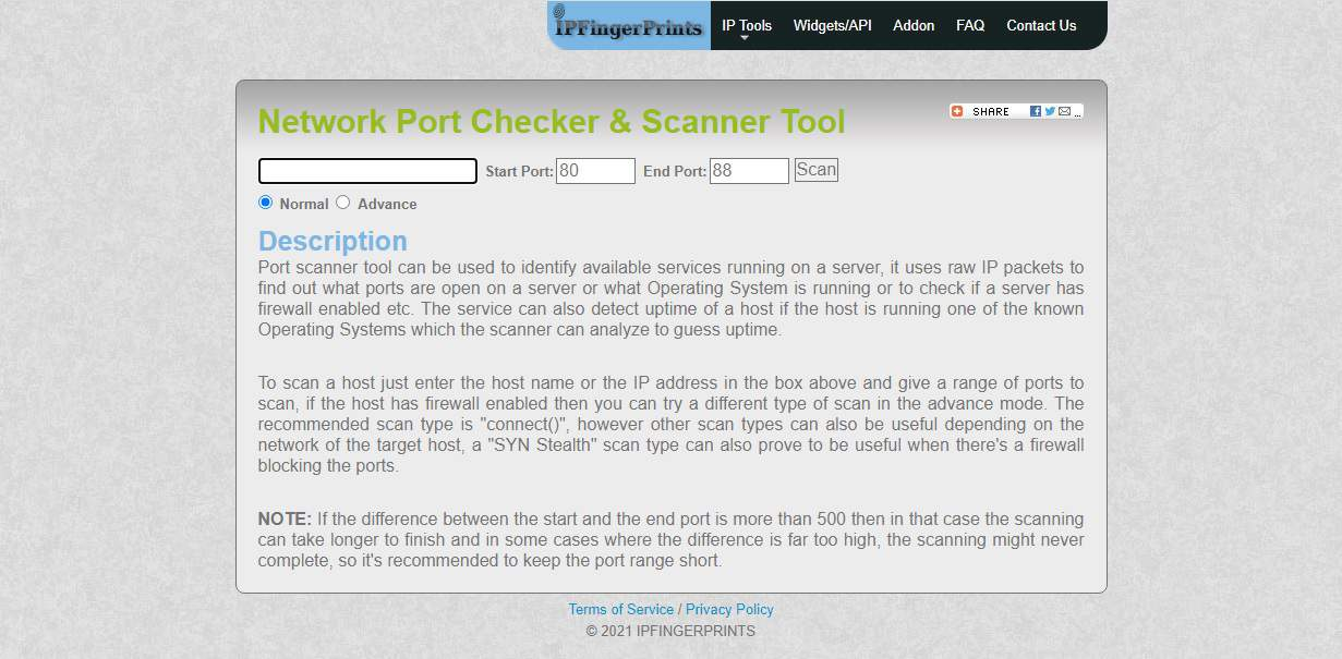 IP Fingerprints Network Port Checker