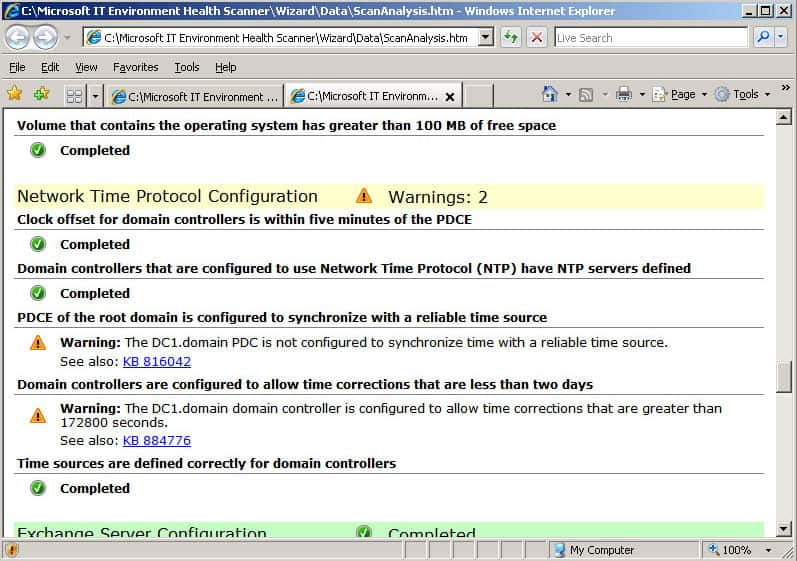 it environment health scanner tool from Microsoft