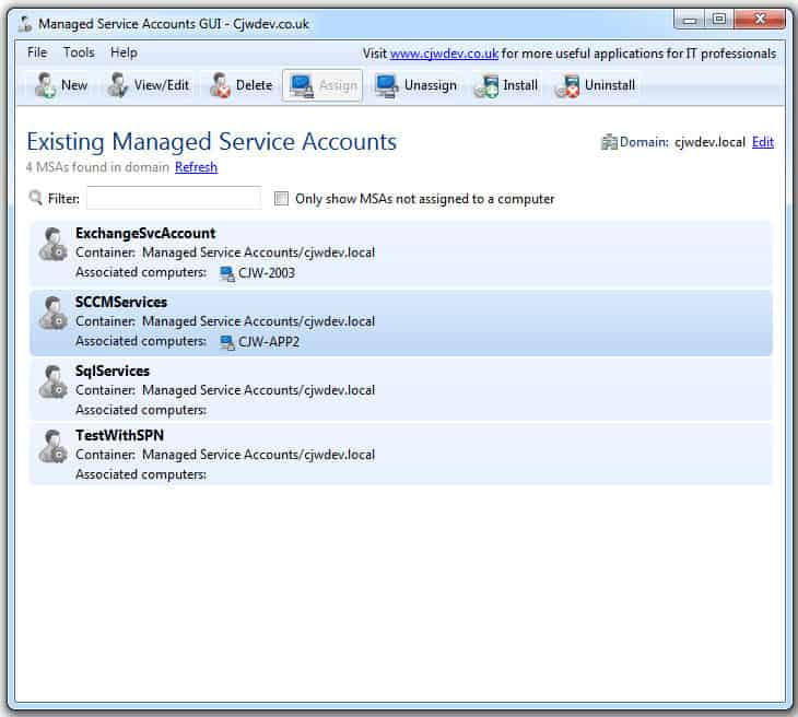 managed service accounts gui