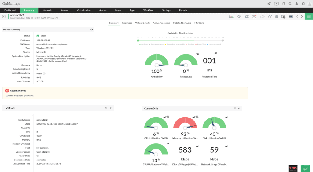 OpManager Index-Snapshot
