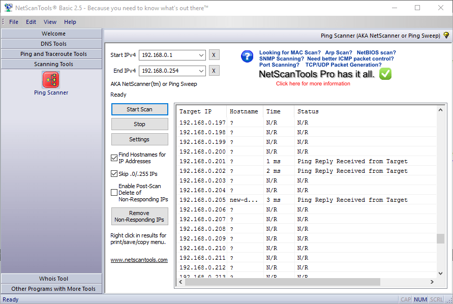 Ping Scan with NetScan Tools