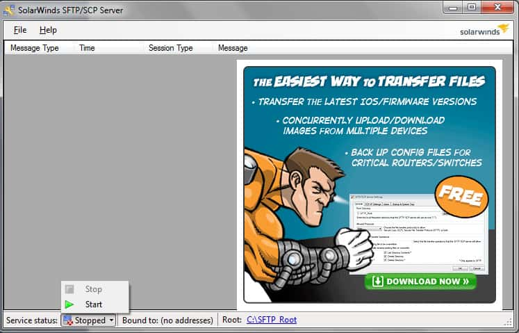 Solarwinds sftp server screenshot and download