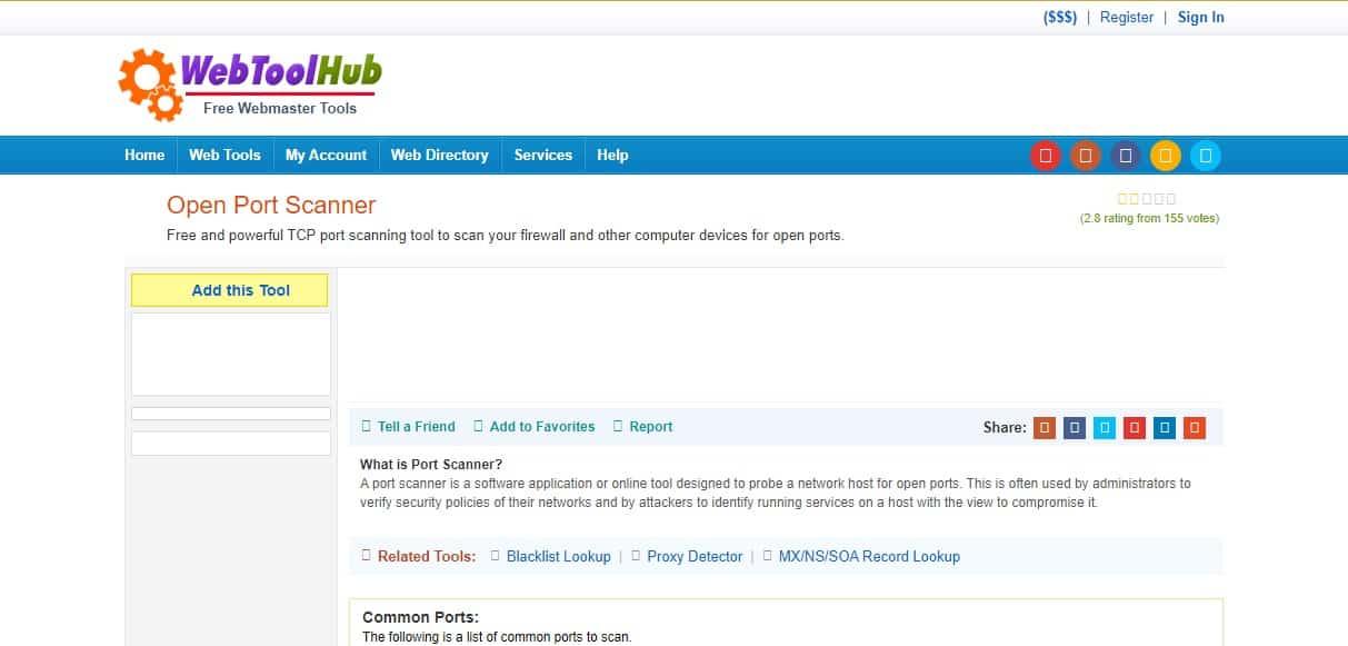 Web Tool Hub Open Port Scanner