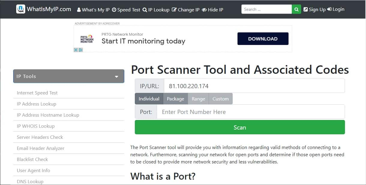 What is my IP Port Scanner