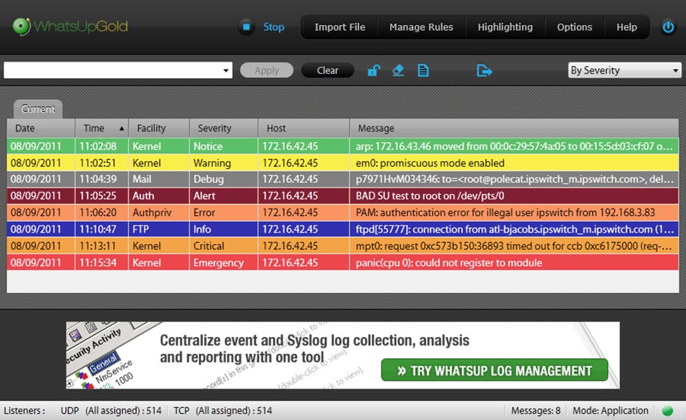 WhatsUp Gold Syslog Server Free screenshot