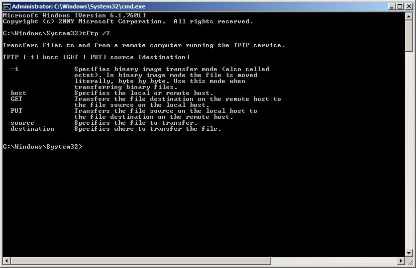 Windows 7 TFTP command line howto