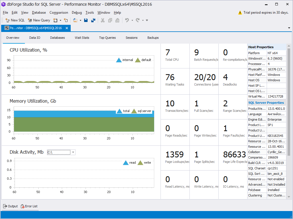 dbForge dashboard