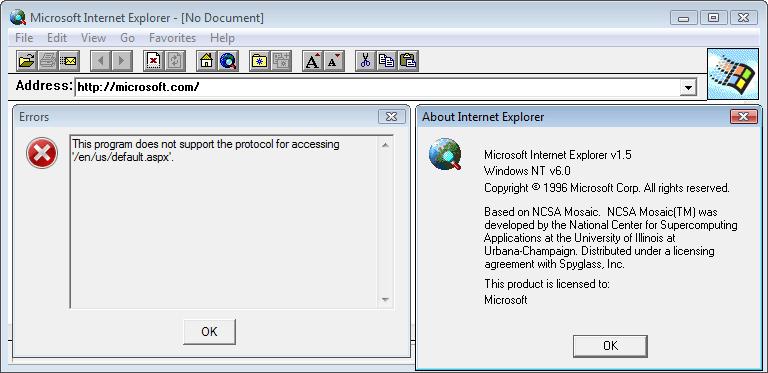 Internet Explorer 1.5 (0.1.0.10) in Windows Vista