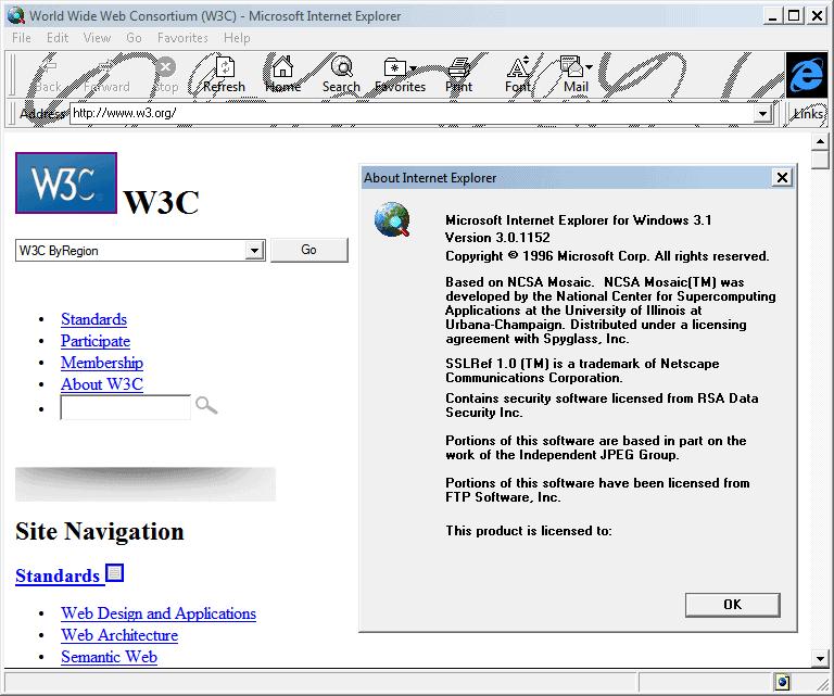 Internet Explorer 3.0 (3.0.1152) in Windows 7