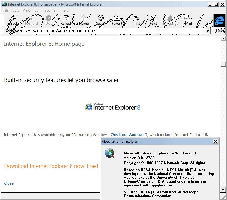Internet Explorer 3.01 (3.01.2723) in Windows 7