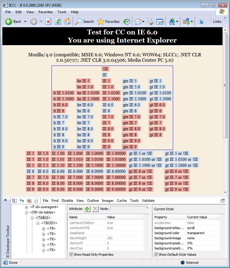 Internet Explorer 6.0 (6.00.2900.2180) in Windows Vista x64