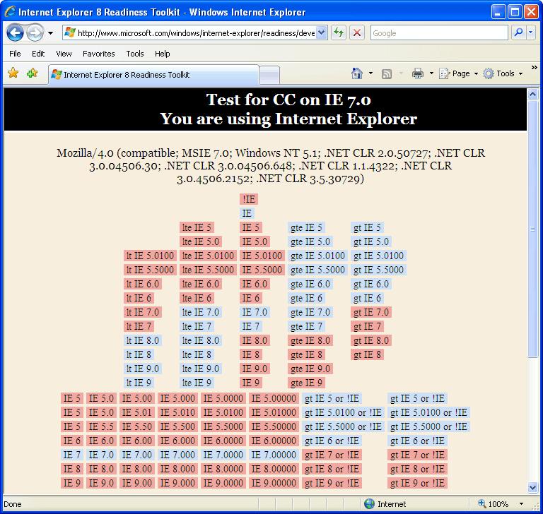 Internet Explorer 7.0 (7.00.5730.13) in Windows XP