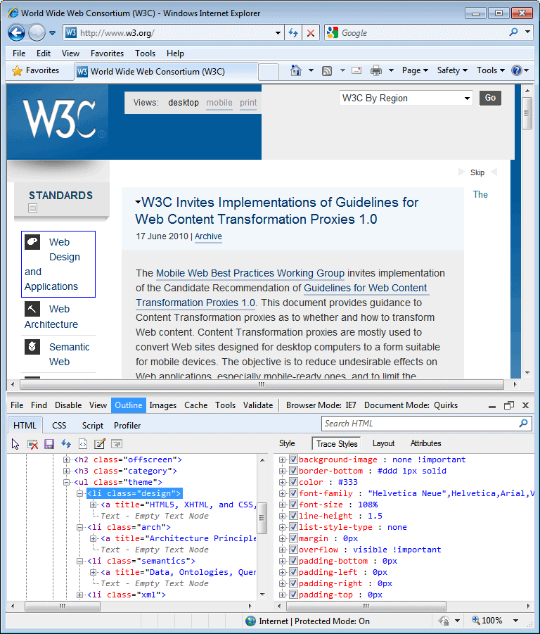 Internet Explorer 8.0 (8.00.6001.18702) in IE 7 Mode in Windows 7
