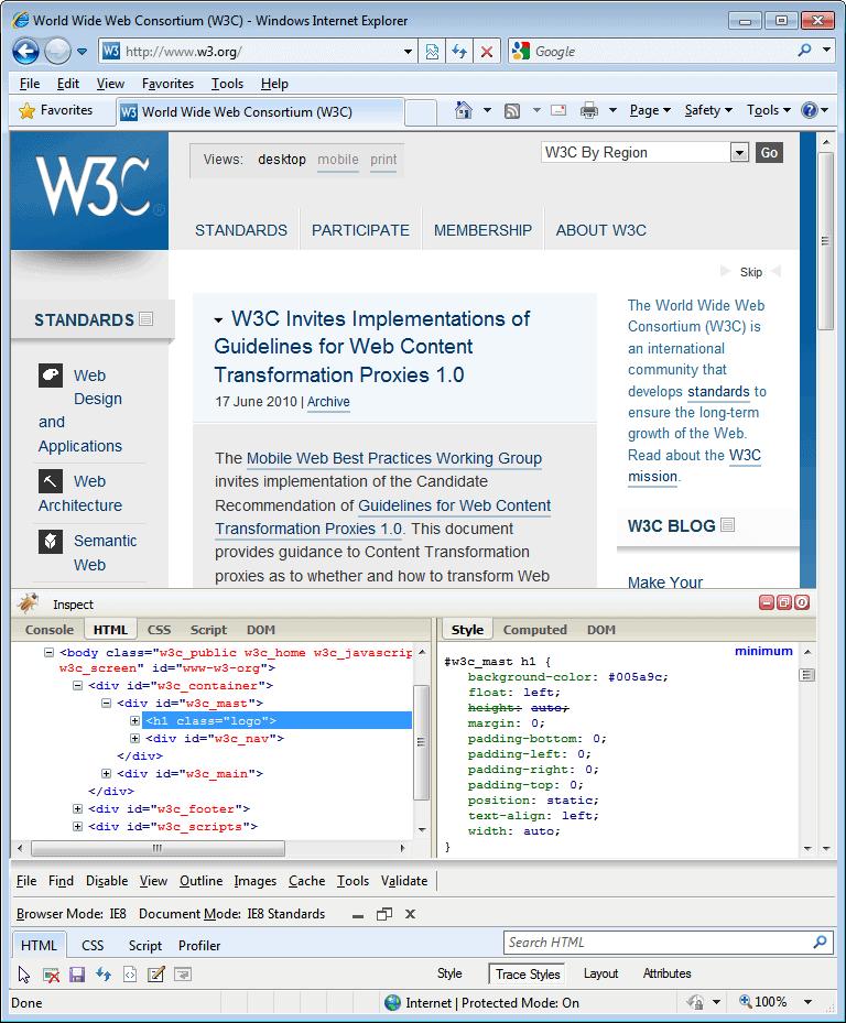 Internet Explorer 8.0 (8.00.6001.18702) in Windows 7