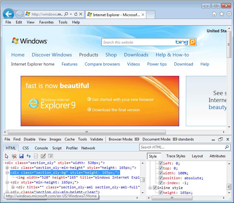 Internet Explorer 9.0 (9.00.8112.16421) in Windows 7