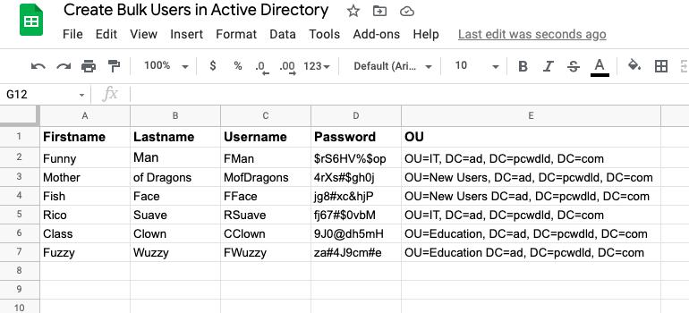 Google sheets spreadsheet