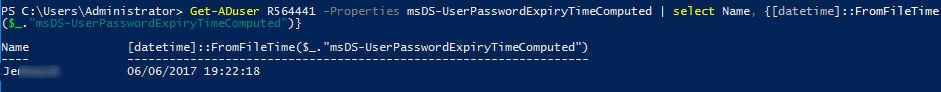 list user password expiration powershell