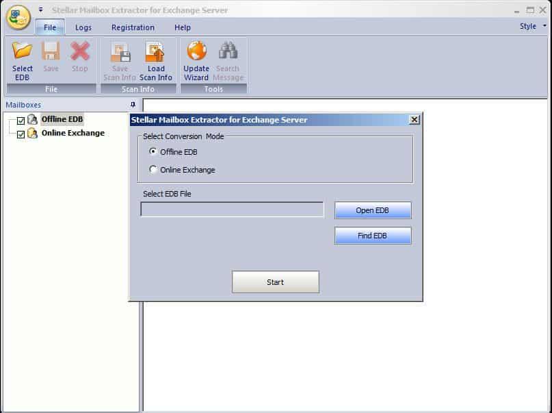 extrator de caixa de correio para servidor Exchange