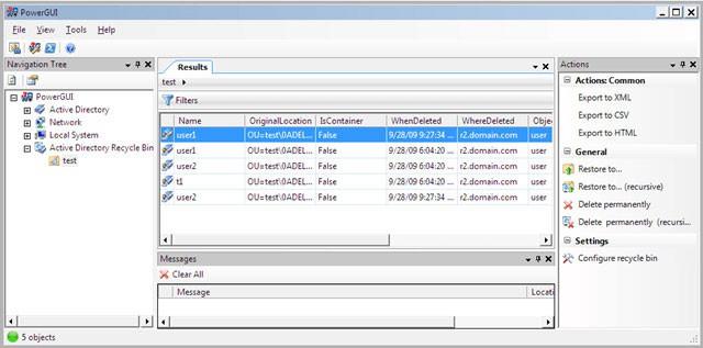 PowerGUI - Active Directory recycle bin powerpack