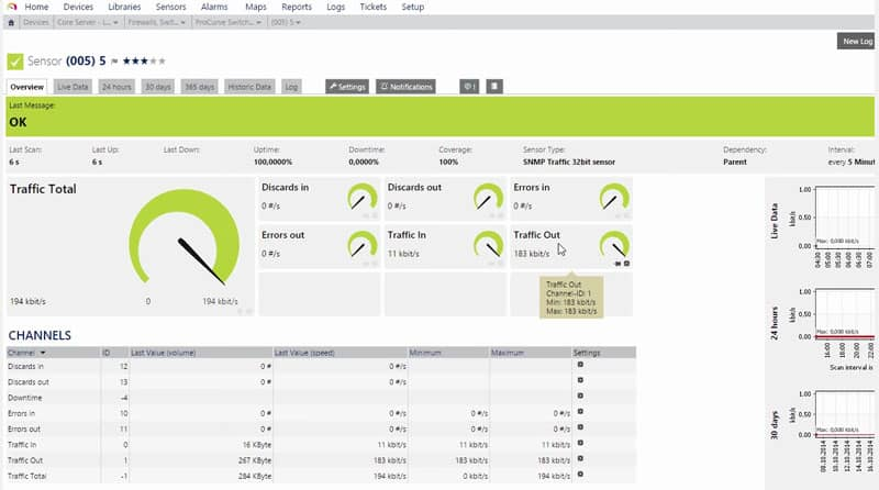 prtg bandwidth monitor interface screenshot