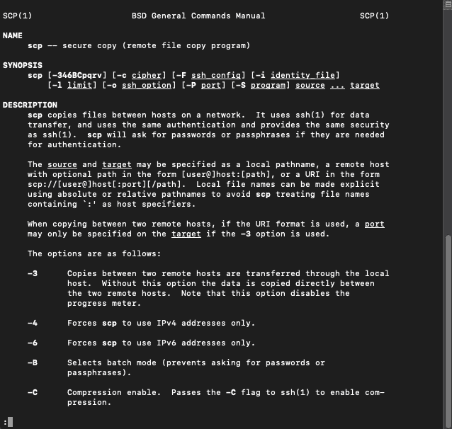 MacOSX SCP Command Output