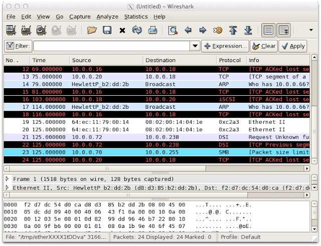 wireshark sflow collection and analyzing screenshot